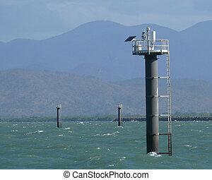 Sea lighthouse on solar bat.