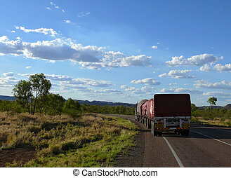 Storied australian road train in outback 53 metres by length