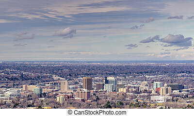 Boise Idaho in the winter with clouds - Unique view of Boise...
