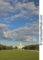 Capitol Hill In Front of Capitol Building. HDR Image. Vertical Composition