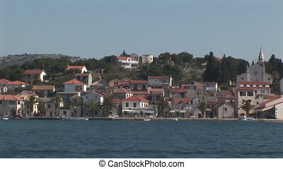 Rogoznica, a small town in Croatia, seen from a boat