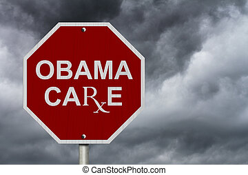 Stop ObamaCare Sign, An American road stop sign with word...