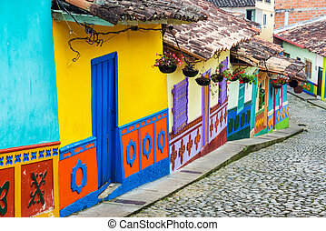 Colorful Street - Brightly colored street in town of Guatape...