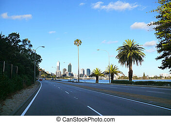 PERTH, AUSTRALIA - NOVEMBER 29, 2007: Perspective of road...