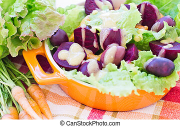 Organic Carrot and Beetroot Salad with Black Olives