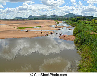 River with washing people - Africa Mozambique Prospect of...
