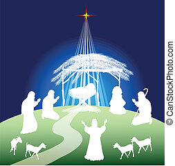 Nativity scene silhouette - Christmas nativity scene...