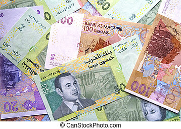 Dirhams currency - Mixed UAE Dirhams currency, above angle
