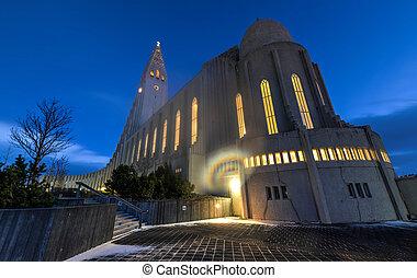 Hallgrimskirkja Cathedral in Reykjavik, Iceland. The...