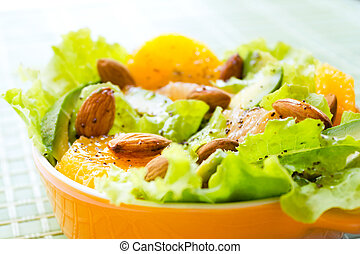 Summery Citrus Salad with almonds and lemon poppy seed...