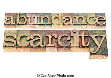 abundance and scarcity - isolated words in n letterpress...