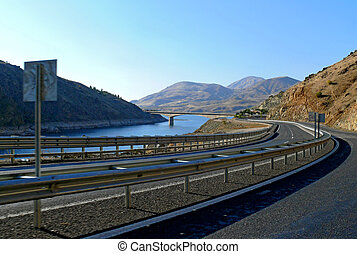 Euphrates. Turkey. - The road along the banks of the...