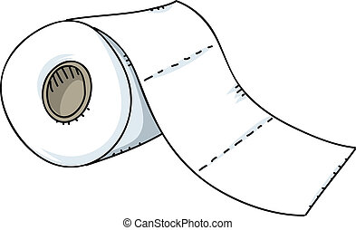 Toilet Paper Roll - A cartoon roll of toilet paper