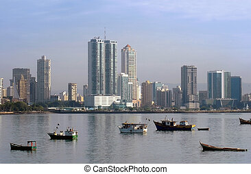 Panama city buildings coastline - wide angle picture of the...