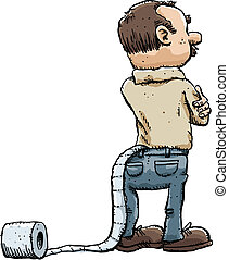 Toilet Paper Accident - A cartoon man unaware that a roll of...