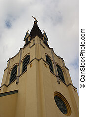 church steeple - adobe church steeple looking up from the...