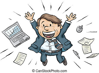 Businessman Joy Jump - A cartoon businessman jumps for joy,...