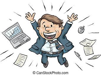 Businessman Joy Jump - A cartoon businessman jumps for joy,...