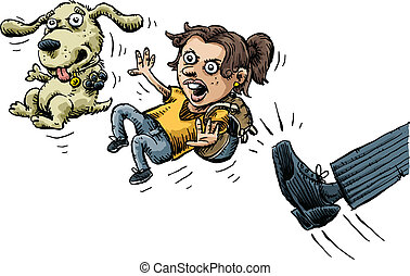 Kicked Out - A cartoon girl and her dog are angry as they...