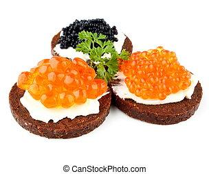 caviar, esturjão,  pumpernickel, salmão, pão, truta