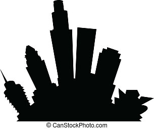 Cartoon Los Angeles - Cartoon skyline silhouette of the city...