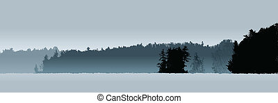 Misty Lake - A silhouette landscape of a misty lake
