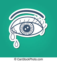Crying eye with tears. - Sketch sticker vector element for...