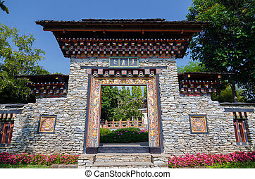 Bhutan style door and wall entrance background