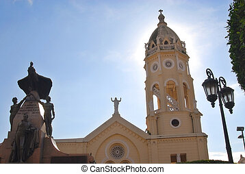 Cathedral in Panama city - wide angle picture of a Panama...