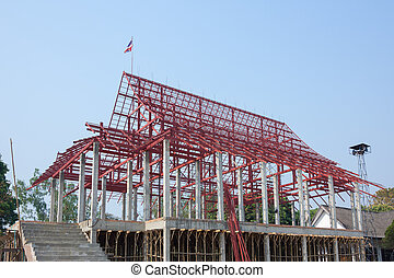 Construction site with thai temple and steelwork