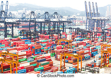 Containers at Hong Kong commercial port - HONG KONG -Oct 19,...