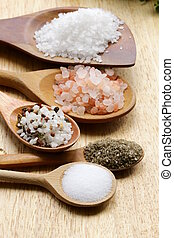 different types of salt (pink, sea) - different types of...