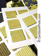 Carpet texture swatches and samples - Colorful material...