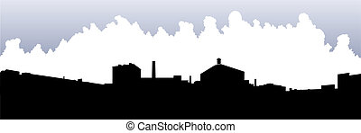 Liberty Village Silhouette - Skyline silhouette of Liberty...