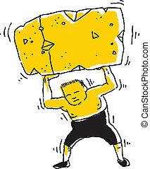 Strong Man Lifting Block