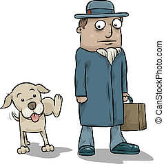 Dog Peeing on Businessman - A cartoon dog pees on the leg of...