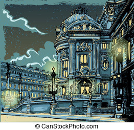 Vintage Hand Drawn View of Opera in Paris - Detailed...