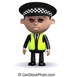 3d Alert police officer - 3d render of a police officer...