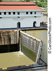Panama Channel - Panama Canal with a large container ship...