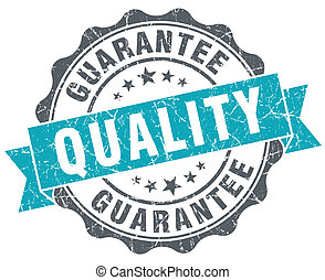 Quality guarantee blue grunge retro style isolated seal