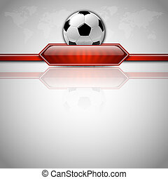 Soccer Background - Soccer symbol Football with red button...