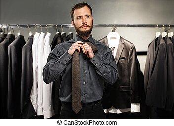 guapo, hombre, Barba, Atar, corbata, ropa, Tienda