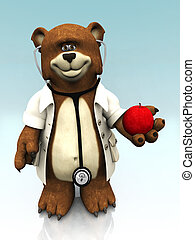 Cartoon bear dressed as doctor, holding an apple - A cartoon...