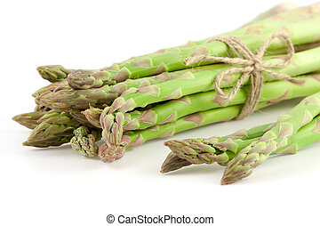 sheaf of ripe green asparagus on a white background