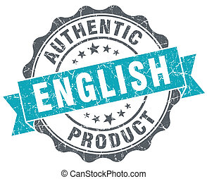 English product blue grunge retro style isolated seal