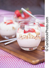 Delicious fresh strawberries and yoghurt breakfast - Fresh...