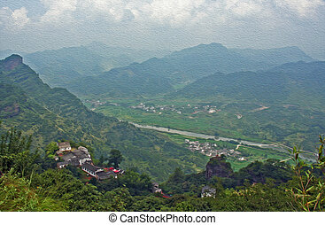 panorama of beautiful chinese contryside taken from Qiyun...
