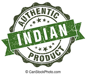 Indian product green grunge retro style isolated seal
