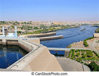 Aswan hydro-electric power station - Africa, Egypt Aswan...