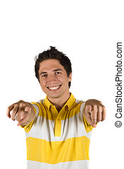 Yes!You! - Attractive young man with blank t-shirt pointing...